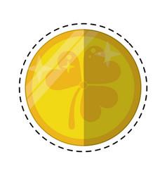 cartoon st patricks day gold coin clover vector image