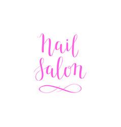 Hand-drawn nail salon lettering design vector