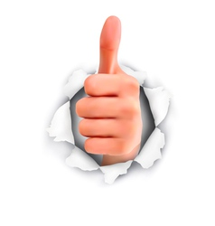 Hand with thumb up through a hole in ripped paper vector image
