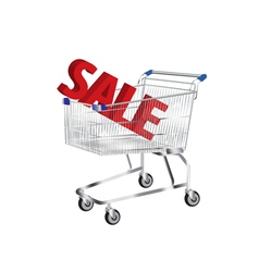 Shopping cart with sale symbol inside vector