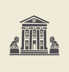 Icon of two-storey old building with statues lions vector