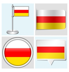 South Ossetia flag - sticker button label vector image