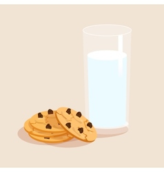 Milk and cookies decorative set vector