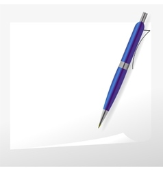 Blue pen and paper vector