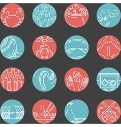 Flat round line icons for seafood vector