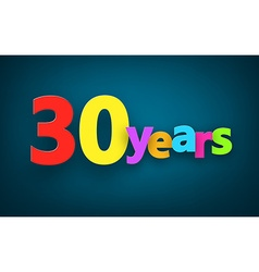 Thirty years paper sign vector