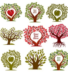 Graphic of trees with red heart and empty co vector