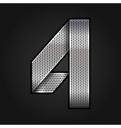 Number metal chrome ribbon - 4 - four vector