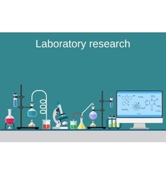 Lab worker table computer chemical research vector