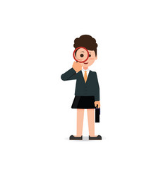 Business woman looking through a magnifying glass vector