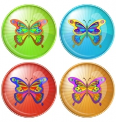 butterfly button vector image