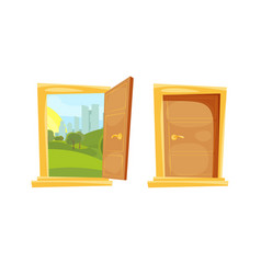 Closed and opened door with sunset landscape vector