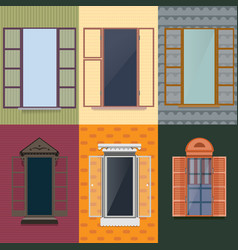 Colorful decorative opened windows set vector