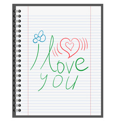 confession in love calligraphy on sheet of paper vector image