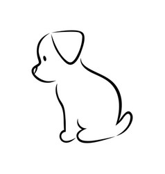 cute puppy silhouette on white vector image vector image