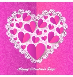 Cutout lacy paper heart on pink ornate background vector image vector image