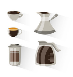 Flat set icon with jar coffee maker and cup vector