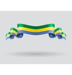Gabon wavy flag vector