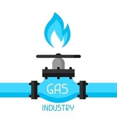 Gas control valve industrial in flat vector