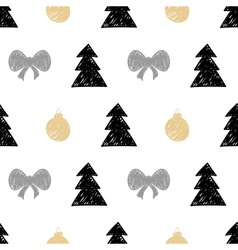 Hand drawn christmas tree gift ball seamless vector