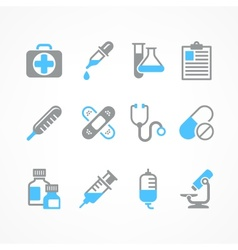 Medical icons in blue vector image