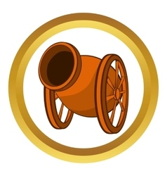 Medieval cannon icon cartoon style vector