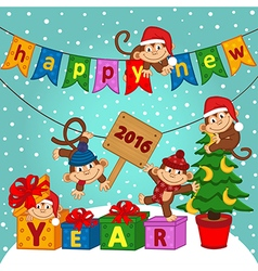 new year 2016 with monkeys vector image vector image