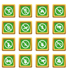 No insect sign icons set green vector