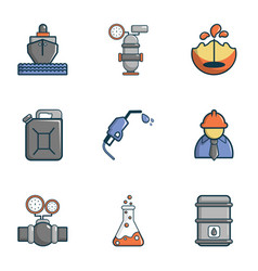 Oil transportation icons set cartoon style vector