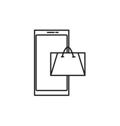 Online mobile shoping icon vector