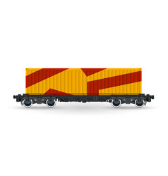 Orange railway container isolated vector
