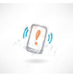 Ringing cellphone with an exclamation mark on vector image