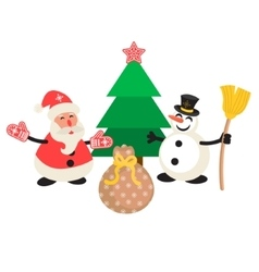 Santa Claus and Snowman cartoon vector image vector image