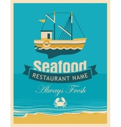 Seafood store with fishing boats vector