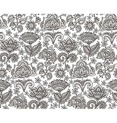 seamless pattern with hand drawn henna floral vector image vector image