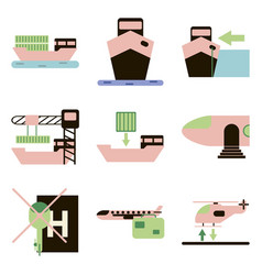Set of icons in flat design for cargo vector