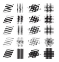 set of various pencil strokes halftone vector image vector image