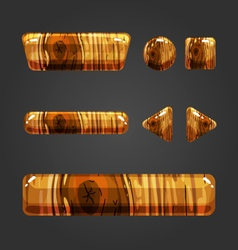 Set of wooden button for game design vector