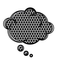 Silhouette cloud speech with metal grid of vector