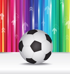 soccer ball with color stripe background vector image