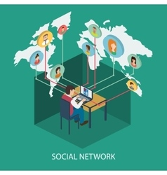 Social network online concept for web and infograp vector image
