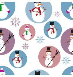 template of snowmen on blue and purple background vector image