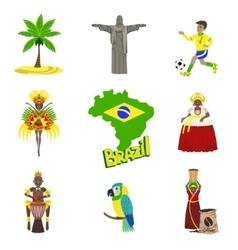 Traditional brasilian symbols with people set vector
