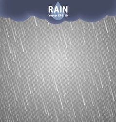 Transparent rain image rainy cloudy background vector