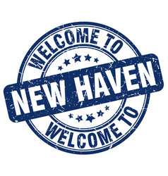 Welcome to new haven blue round vintage stamp vector