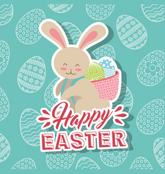 White rabbit with basket in back happy easter eggs vector