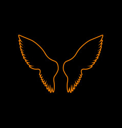 wings sign orange icon on black vector image