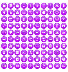 100 deposit icons set purple vector