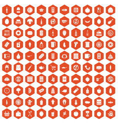 100 lunch icons hexagon orange vector