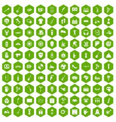 100 street festival icons hexagon green vector
